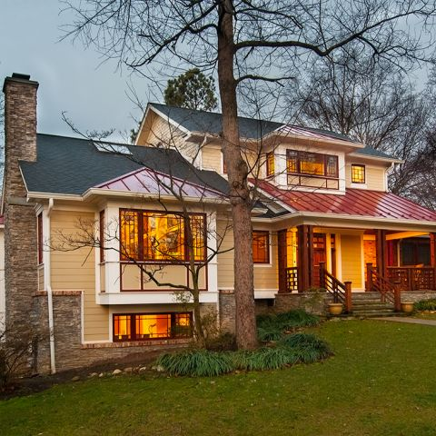 The exterior of Ballard home at dusk