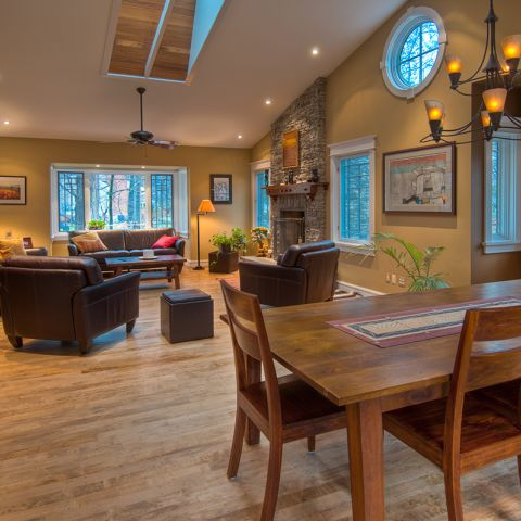The living room and dining room in the renovated Ballard home