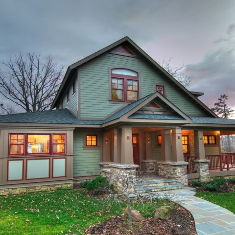 Henry Project's California Bungalow--the exterior at dusk
