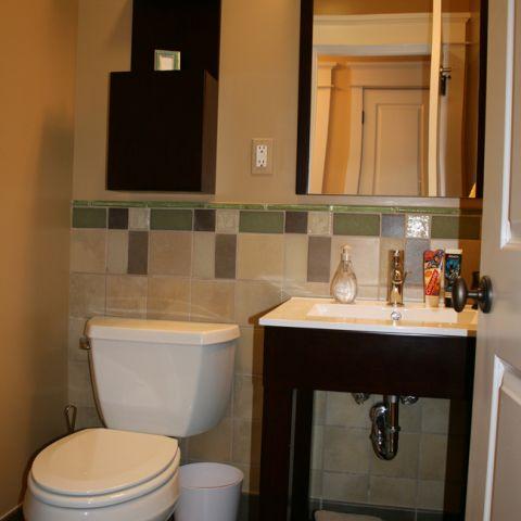 Updated bathroom on the main floor of the Ballard home.