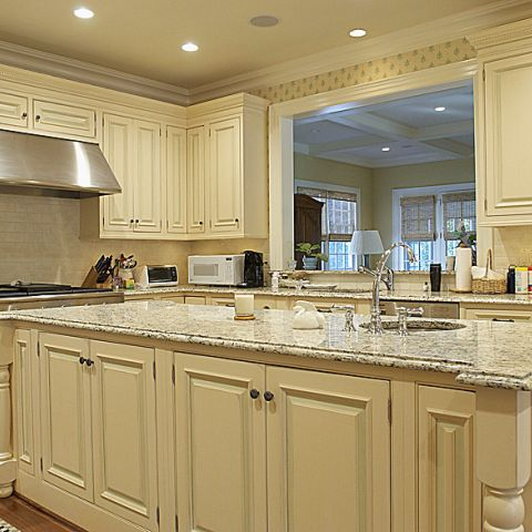 A marble and creme kitchen from Stanmore Drive's home renovation project