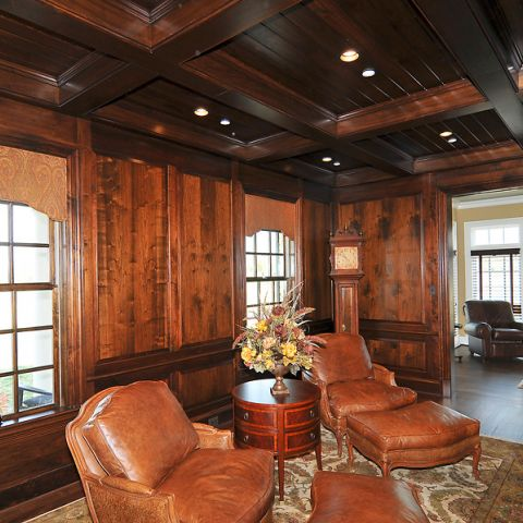 All wood den for Sugarland Lane home, complete with leather recliners