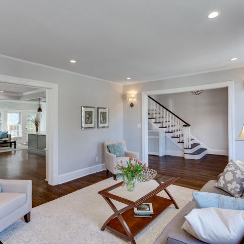 living room towards the stairs - historic charm in NW DC - Ballard & Mensua Architecture