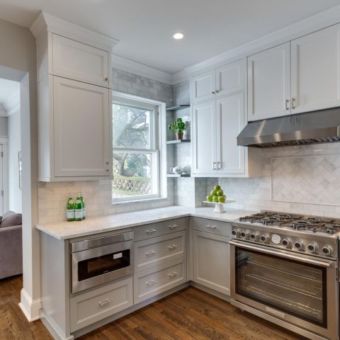 kitchen range and cabinets - historic charm in NW DC - Ballard & Mensua Architecture