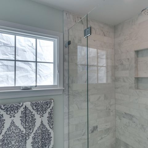 shower detail in master bath - historic charm in NW DC - Ballard & Mensua Architecture