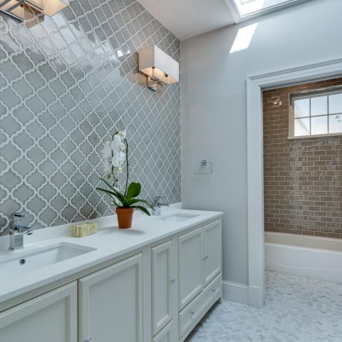 tile work in hall bathroom - historic charm in NW DC - Ballard & Mensua Architecture