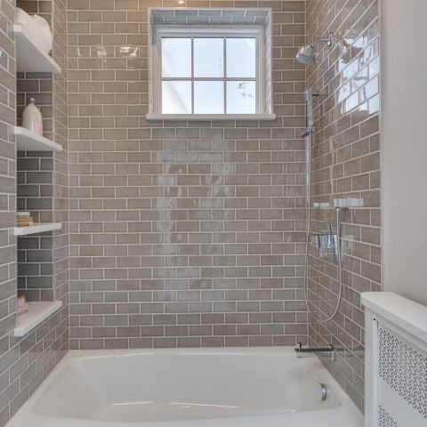 bathroom with built in niche - historic charm in NW DC - Ballard & Mensua Architecture