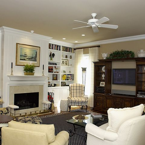 Formal family room with built in bookcases on Newington Rd