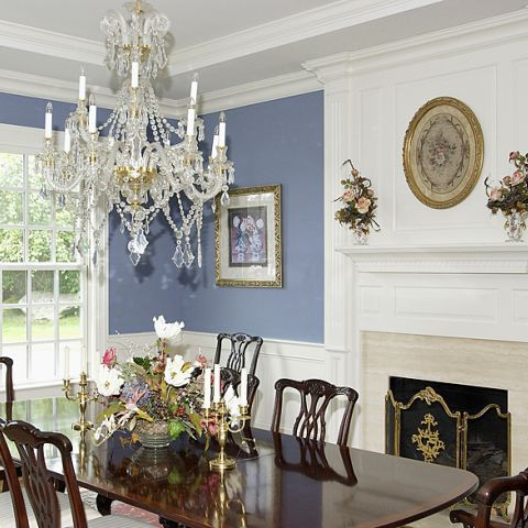 Formal dining room and traditional chandelier for Purcell project
