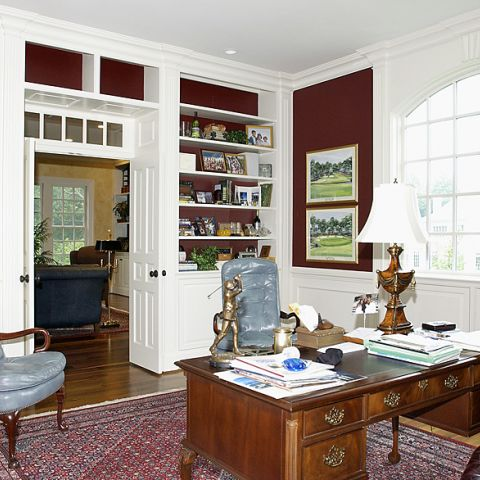 Formal office with built in bookcases for Purcell project