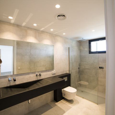 clean and modern hall bathroom