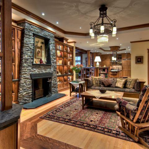 living room detail towards kitchen