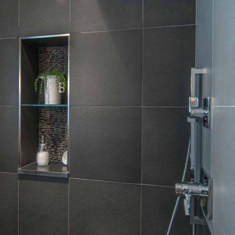 Bennington project - Little City rambler - guest bathroom shower detail