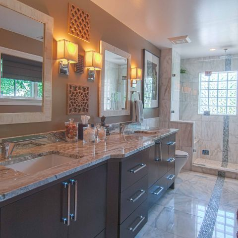 Bennington project - Little City rambler - master bath with shower and vanity