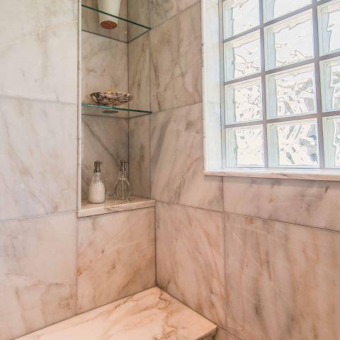 Bennington project - Little City rambler - master shower bench and niche