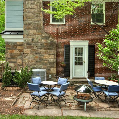 backyard patio with modern firepit - The Shire of Spring Valley - Ballard & Mensua