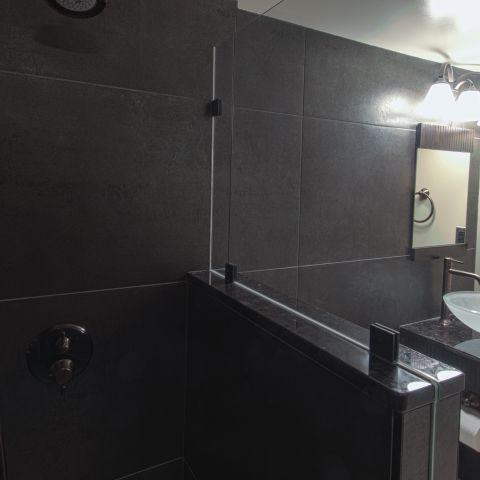 basement bathroom towards vanity - Vienna split level renovation - Boswell project