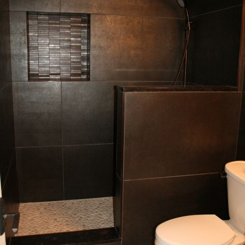 bathroom with open shower - Vienna split level renovation - Boswell project