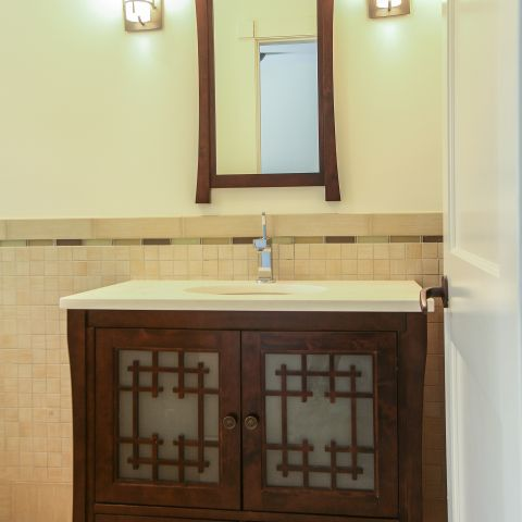 hall bathroom vanity - Modern home makeover - Carr Baron project