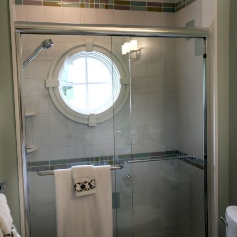 Carr project - nautical New England waterfront home - shower detail