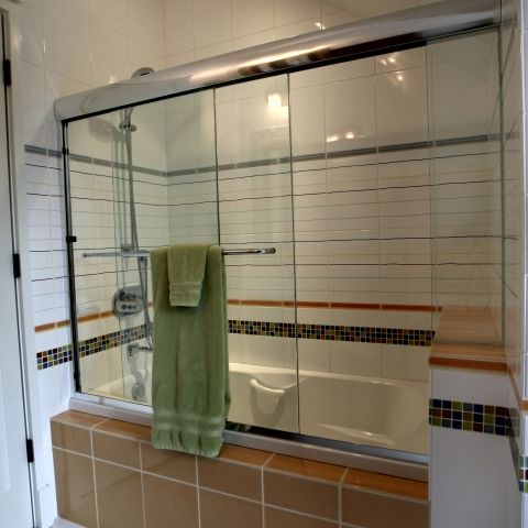 Carr project - nautical New England waterfront home - shower and tub detail