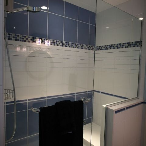 Carr project - nautical New England waterfront home - shower stall