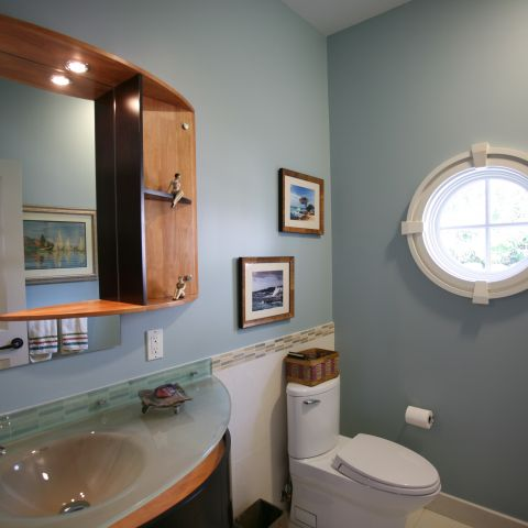 Carr project - nautical New England waterfront home - window and vanity detail