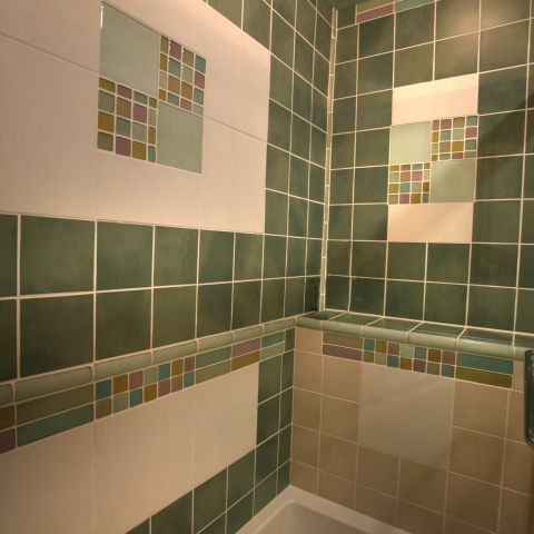 Carr project - nautical New England waterfront home - shower tile detail