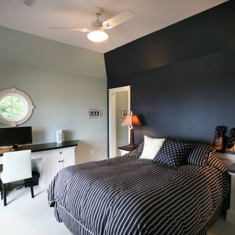 Carr project - nautical New England waterfront home - guest bedroom after