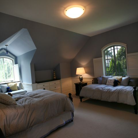 Carr project - nautical New England waterfront home - a guest bedroom