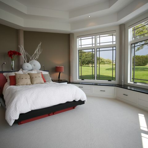 Carr project - nautical New England waterfront home - guest bedroom with picture windows