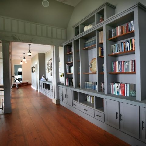 Carr project - nautical New England waterfront home - second floor hallway built-ins