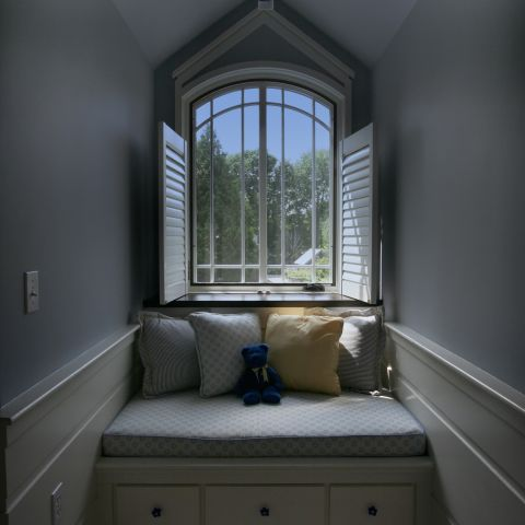 Carr project - nautical New England waterfront home - dormer window seat