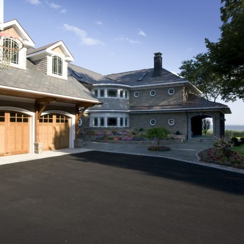 Carr project - nautical New England waterfront home - driveway detail