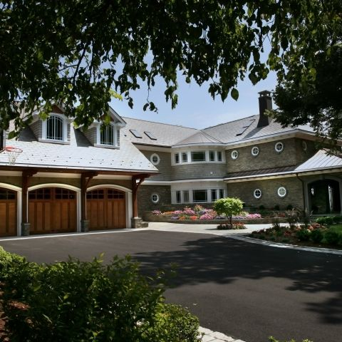 Carr project - nautical New England waterfront home - front driveway