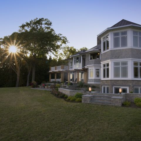 Carr project - nautical New England waterfront home - octagon at sunset