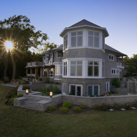 Carr project - nautical New England waterfront home - Octagon sunset room