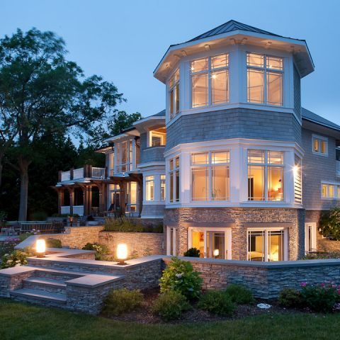 Carr project - nautical New England waterfront home - Octagon lit up at sunset