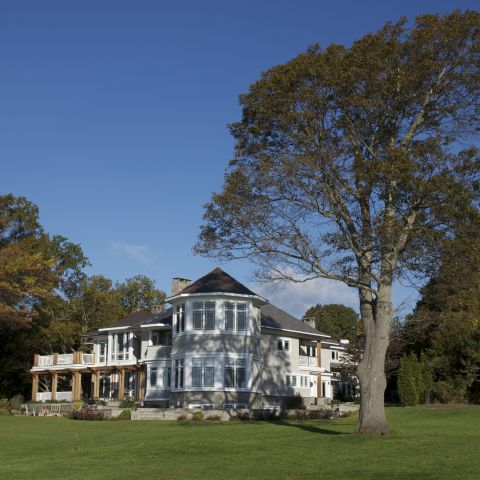 Carr project - nautical New England waterfront home - rear view