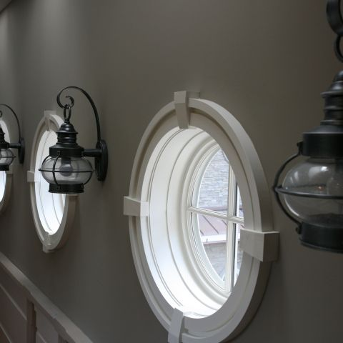 Carr project - nautical New England waterfront home - second floor hallway window details