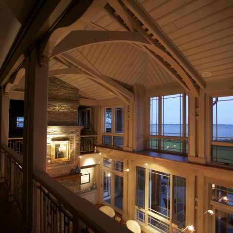 Carr project - nautical New England waterfront home - bayview windows on second floor by nigh