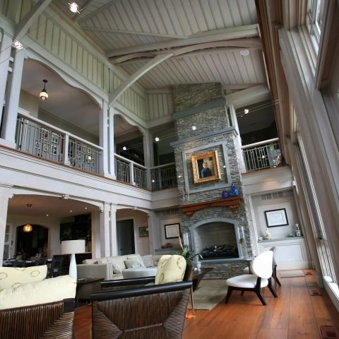 Carr project - nautical New England waterfront home - two-level living room views