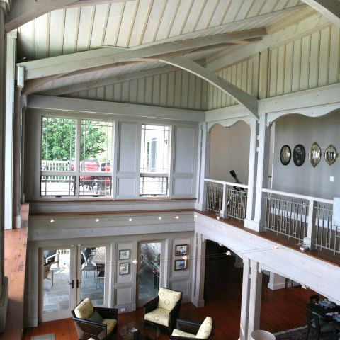Carr project - nautical New England waterfront home - living room ceiling overhang
