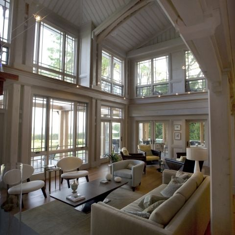 Carr project - nautical New England waterfront home - vaulted ceiling living room