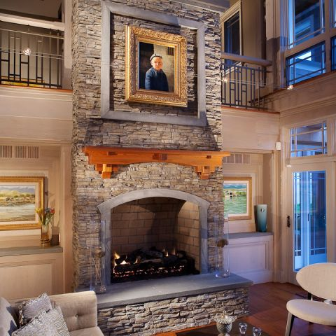 Carr project - nautical New England waterfront home - living room's fireplace