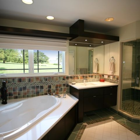 Carr project - nautical New England waterfront home - master bathroom with tub and water views