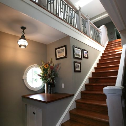 Carr project - nautical New England waterfront home - mudhall staircase