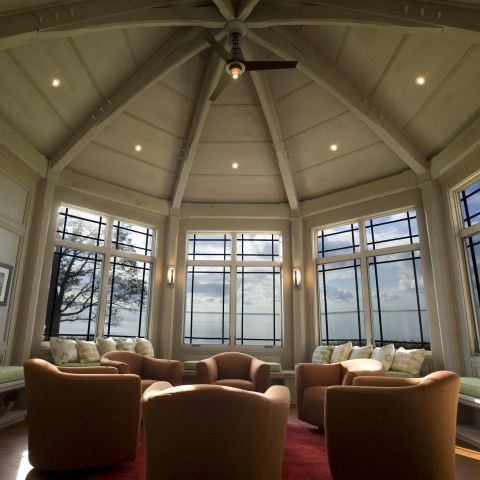 Carr project - nautical New England waterfront home - sunrise room ceiling view
