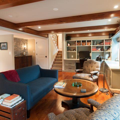 Cole project - craft style mid-century split level - den towards wet bar