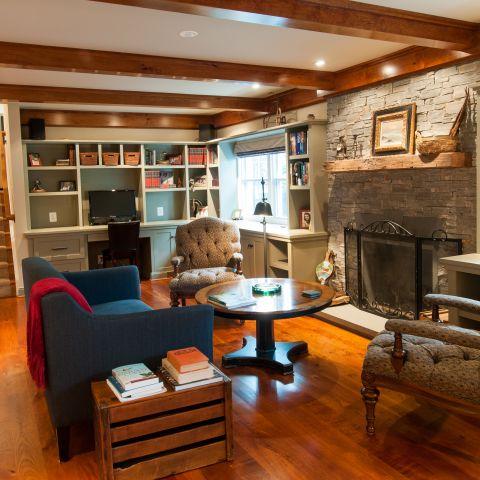Cole project - craft style mid-century split level - den towards fireplace